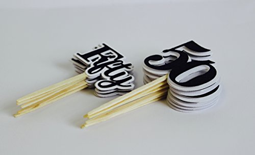 All About Details Black Fifty Cupcake Toppers, Set of 12, 2 x 4