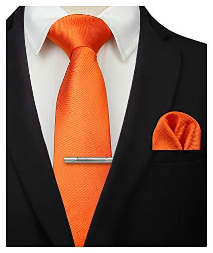 HISDERN Pince a Cravate orange unie pour Mouchoirs Fete de Mariage Classique Cravate & Pochette