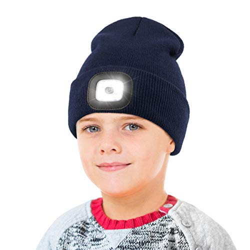 LED Beanie Hat with Light for Kids,Unisex USB Rechargeable Hands Free 4 LED Headlamp Cap Winter Knitted Night Lighted Hat Flashlight Boys Girls Gifts (Navy Blue)