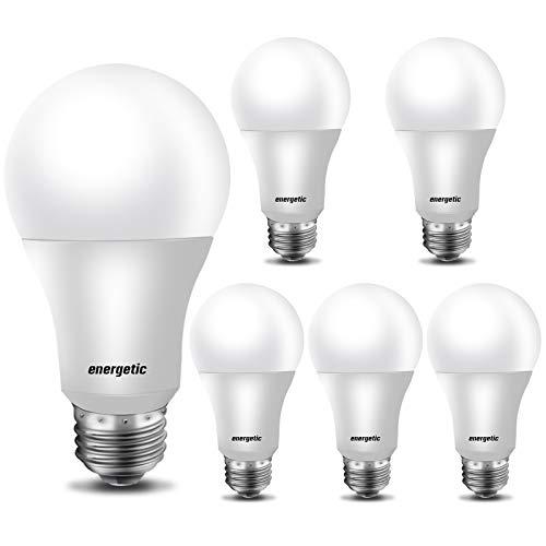 【Energy Star】60 Watt LED Light Bulb Daylight 5000K, Dimmable A19 LED Bulb, CRI90+, 800lm, UL Listed, 6 Pack