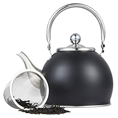 Tea Kettles with Infuser Stainless Steel Teapot Teakettle for Stovetop Induction Stove Top Fast Boiling Heat Water Cute Tea Pot 1.6-Quart