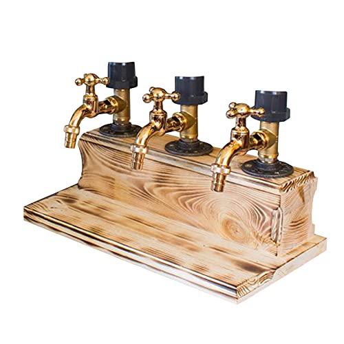 YUWEX Getränkeportionierer Holz Flaschenhalter Bar Accessoire Wasserhahn Getränkespender getränkeportionierer Hausbar für Flaschen Schnaps, Limonade