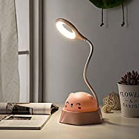 JSN&PCブックランプ、スタンディングランプ、USB充電式読書ランプ、360度回転可能なテーブルランプ、カラフルな漫画のかわいいナイトライト、無段階調光、仕事、寝室、デスクトップ、化粧台、読書、給電、停電、防災 褐色