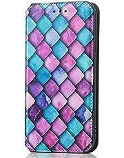 TYWZ RFID blokkeren creditcardhouders portemonnee geval voor Samsung Galaxy A82 5G, Folio PU lederen cover met modieus ontwerp Kickstand Flip vrouwen portemonnee-paarse kubus