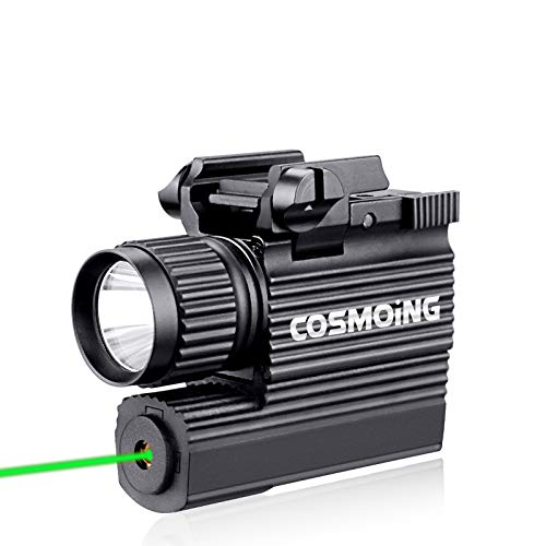 COSMOING Pistol Green Laser Light Combo (Laser Sight Combo) & 600 Lumen Strobe Pistol Flashlight Rail Mount Gun Flashlight with Quick Release for Pistols Handguns,Gun Light,Pistol,Rifles