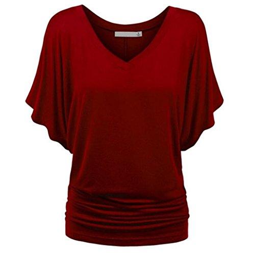 MRULIC Damen Pure Casual T-Shirt Top Tiefem V-Ausschnitt Bluse Plus Größe(A-Weinrot,EU-38/CN-S)