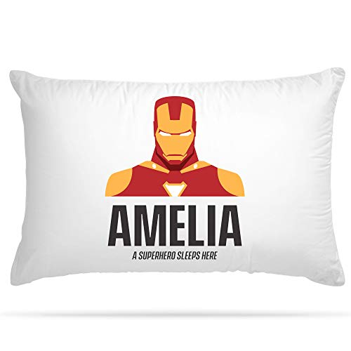 Personalised Pillow Case 15 Different Superhero Any Name Print Gift for Kids Bedroom Decoration Boys and Girls (Iron Man)