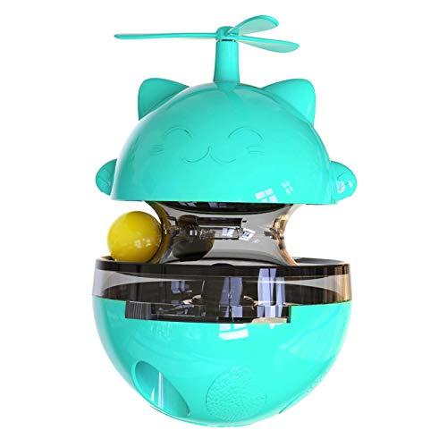 Plato giratorio Toy Track Food Dispensing Training Pet Plies Educativo ABS Gato Perro Vaso Portátil Inicio Interactivo Divertido Spinning Ball (Azul)