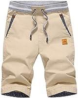 Tansozer Men's Shorts Casual Classic Fit Drawstring Summer Beach Shorts with Elastic Waist and Pockets (Khaki, Large)