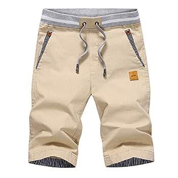 Tansozer Men s Shorts Casual Classic Fit Drawstring Summer Beach Shorts with Elastic Waist and Pockets  Khaki X-Large