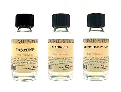 Perfume Studio Fragrance Oil Set 3-Pk 1oz Each for Making Soaps, Candles, Bath Bombs, Lotions, Room Sprays, Colognes (White Floral, Jasmine, Magnolia, Summer Jasmine)