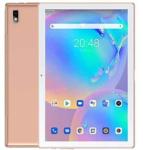 Blackview Tab 9 10.1'' Android 10 Tablet FHD+ Pantalla, 1.8GHz Octa Core 4GB RAM+64GB ROM, 7480mAh Batería, Dual SIM 4G LTE+WiFi+Teléfono Llamada, 13MP+5MP Cámara, Altavoz Dual, GPS Bluetooth Oro