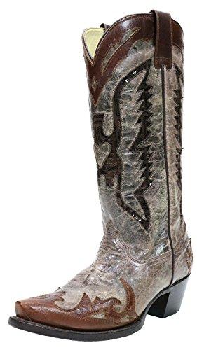 [CORRAL] レディースイーグルシーケンスInlay Western Boots カラー: ブラウン