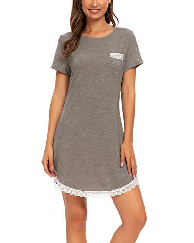 Mintlimit süßer, weicher Spitze, kurzes Nachthemd, weich, Loungewear für Frauen, Boyfriend-Pyjama, grau, Größe L