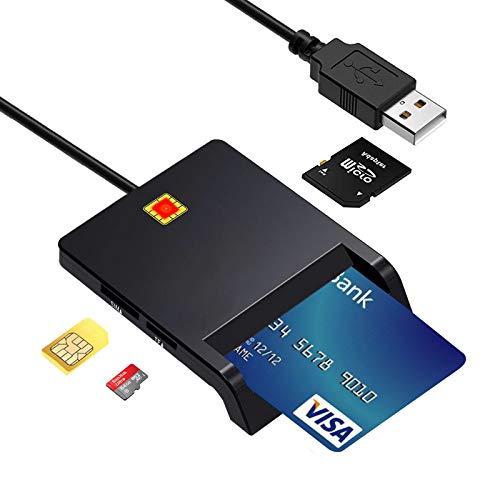 CAC Lecteur Carte à Puce, Bofuler USB SIM Carte d'accès commun Militaire DOD pour Militaire| Carte d'identité/Puce Banque SIM/IC Adaptateur, Compatible avec Windows XP/Vista/8/11, Mac OS