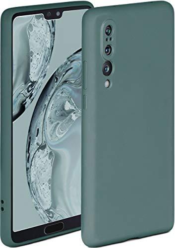 ONEFLOW Soft Hülle kompatibel mit Huawei P20 Pro Hülle aus Silikon, erhöhte Kante für Displayschutz, zweilagig, weiche Handyhülle - matt Petrol