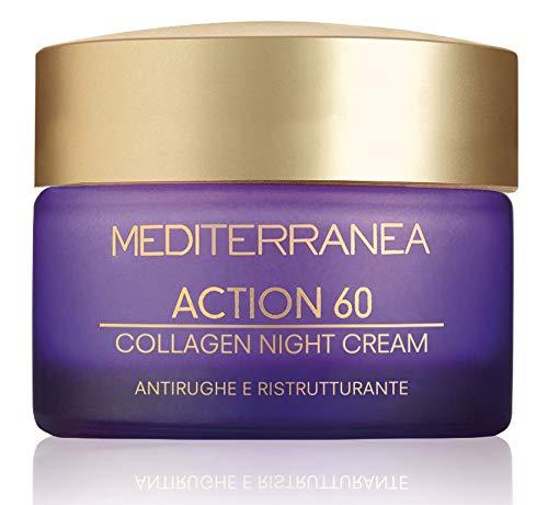 Mediterranea - Crema Notte Viso Action 60 con Alga Bruna, Effetto Antirughe Antiage - Idrata, Tonifica e Distende le Rughe - 50 ml
