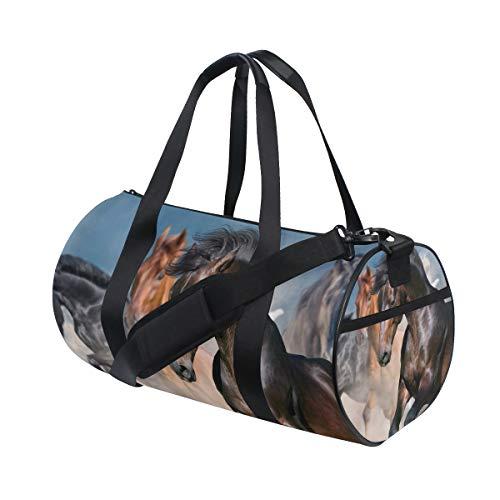 ISAOA - Borsone sportivo da viaggio a cavallo con ritratto in mandria, borsa da palestra pieghevole, leggera, da campeggio, per donne e uomini