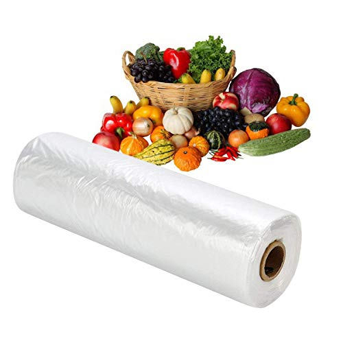 RBHK 12x16 Plastic Produce Bag on a Roll Clear Food Storage Bags, Pet Bags, Diapers Bags, One Roll...