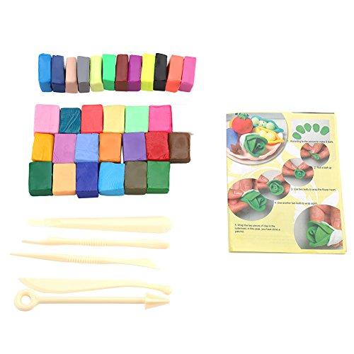 Polymer Lehm, 32 Farben Ofen backen Modelliermasse Kit mit 5 Bildhauerwerkzeugen DIY Soft Handmade Kunst