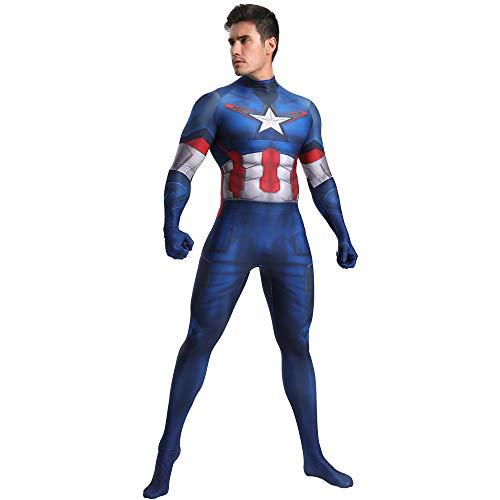 N/A Disfraz de Capitán América 2 - Zentai para Hombres, Mujeres, niños, Unisex - Disfraces Navidad Halloween (Adulto m)