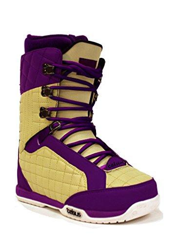 Celsius Belmont Women's Snowboard Boots (Mid Stiff, Trad Lace), Cream/Purple, 5