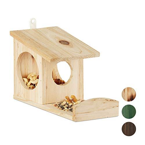 Relaxdays Eichhörnchen Futterhaus, Futterkasten für Eichhörnchen, zum Aufhängen, Holz, HBT: 17,5 x 14 x 25 cm, natur