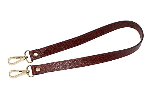 VanEnjoy Full Grain Leather Replacement Strap Cross Body Bag Purse, 0.98 inch Width Gold Hardware (Brownish Red, Length:24')