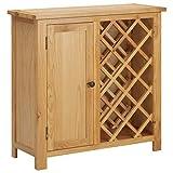 vidaXL Madera Maciza de Roble Botellero para 11 Botellas de Vino con Puerta Vinoteca Mueble Armario Estante Organizador Portabidones Colocación