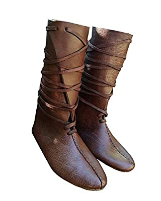 Mens Renaissance Loafer Boots Lace Up Medieval Cosplay Pirate Viking Tied Halloween Shoes by