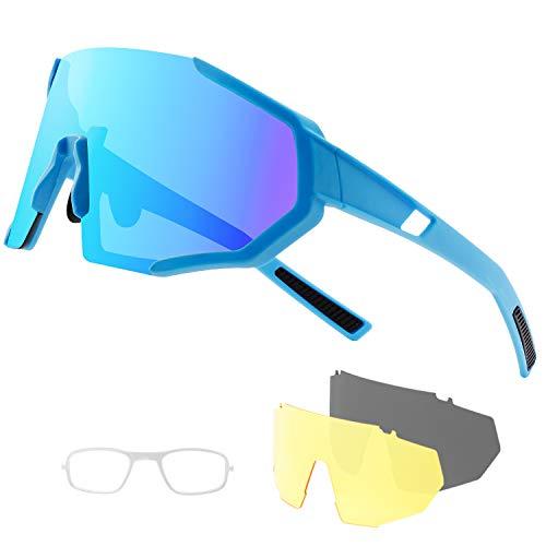DUDUKING Occhiali da Sole Ciclismo Polarizzati Sportivi per Uomo e Donna con 3 Lenti Colorati Anti-UV Antivento Aviatore Specchio per Ciclismo Guida Pesca Running Golf Bici Moto