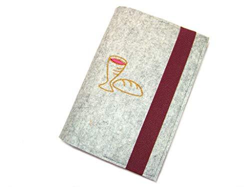 Gotteslobhülle Hülle für Gotteslob Merino Wollfilz Filz mit auswählbarer Stickerei Brot und Wein, Fisch, Kreuz oder Taube für Kommunion oder Gottesdienst