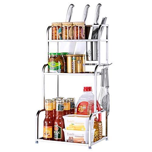 aipipl Home Kitchen Spice Rack, 3 Tier Edelstahl Gewürz Lagerregal Arbeitsplatte Stehende Gewürze Halter Eckregal - Platz sparend über