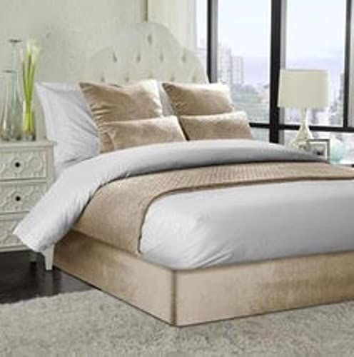Jansons Direct Linens Somier de terciopelo francés suave para cama de matrimonio, color azul real, 42 cm de profundidad