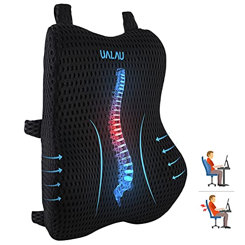 UALAU Lumbar Support Pillow for Office Chair, Back Support Office Chair, Memory Foam Cushion with 3D Breathable Mesh Cover, 3 Adjustable Straps for Back Pain Relief, for Gaming, Computer, Car Seat