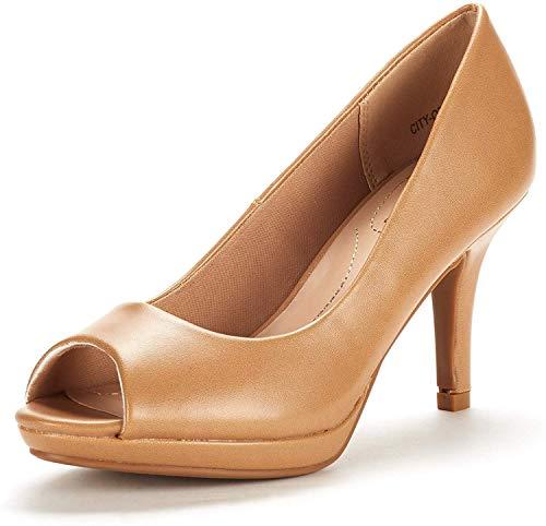 DREAM PAIRS Women's City_ot Nude Pu Fashion Stilettos Peep Toe Pumps Heels Shoes Size 5.5 B(M) US Brown Peep Toe Pump