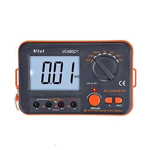 Digitale Tester Meter Digitaler Milliohmeter 3 1/2 4-Draht-Test mit LCD-Hintergrundbeleuchtung Multimeter mit niedrigem Widerstand 6 Bereich 0,01 mΩ - 2 kΩ Genauigkeitsmessgerät VC 480 C + für Widerst