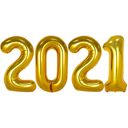 Gold 2021 Balloons for 2021 Graduation Decorations - Large, 40 Inch   Graduation Balloons for Class of 2021 Decorations   2021 Balloons Graduation for Grad Party Decor   Graduation Party Supplies 2021