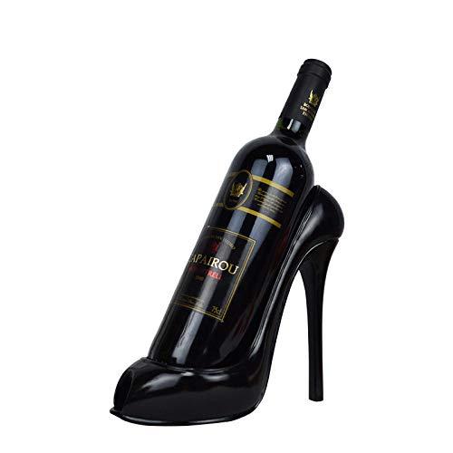 MEMF Botellero con forma de zapato de tacón, elegante botellero para vino, decoración artesanal, color negro