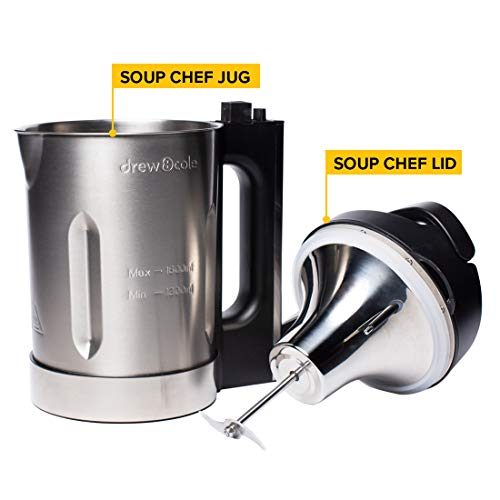Soup Chef, Stainless Steel 1.6L Soup Maker with Sauté, Auto Clean & Keep Warm Function Includes Recipe Book (Classic Chrome)