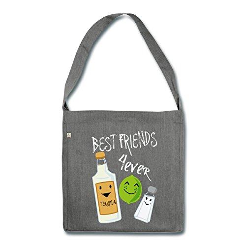 Beste Freunde Für Immer Tequila Limette Salz Schultertasche aus Recycling-Material, Dunkelgrau meliert