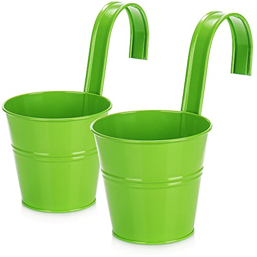 com-four 2X fioriera sospesa per Balcone - Vaso sospesa per Piante ed Erbe aromatiche - fioriera con Gancio per Giardino (Verde - 2 Pezzi)