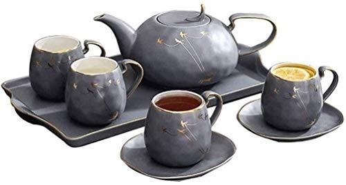 YUYANDE Conjunto de té - Tazas de té y platillos de té de China Nuevos, 15 Piezas, Tazas de platillos para 6, Tetera, con Jarra de Sala de Estar con Bandeja de cerámica Sets de té Gris