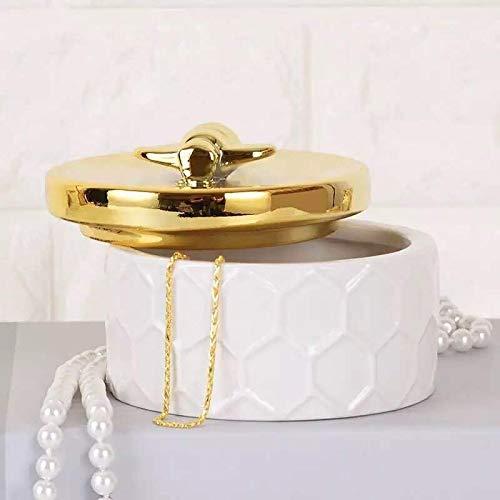 Decoración del hogar- Nordic mano de cerámica caja de oro Tanque de almacenamiento simple princesa ornamentos decorativos anillo de bodas cajas de regalo pendiente de la caja de almacenamiento Decorac