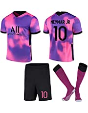 Voetbalshirt Neymar # 10 Away Game Voetbalshirt Set Korte Mouwen Shorts Pak Wk Voetbal voor Kinderen Jeugd Voetbalshirt Verjaardagscadeau