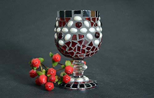 Handgemachtes Windlicht Perlenwelle rot schwarz weiß 13 cm hoch - Mosaik