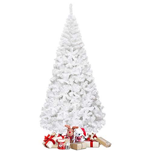 COSTWAY Weihnachtsbaum künstlicher Tannenbaum Christbaum Kunstbaum Dekobaum mit Metallständer 150cm/180cm/210cm/240cm weiß (210cm)