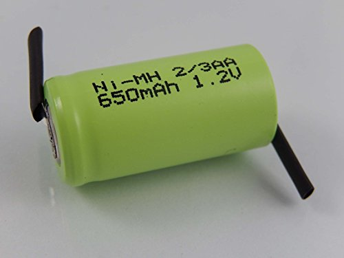 vhbw 2/3AA NI-MH Akku-Zelle 650mAh (1.2V) Z-Lötfahne passend für Modellbau, Solarleuchten, Telefon, etc.