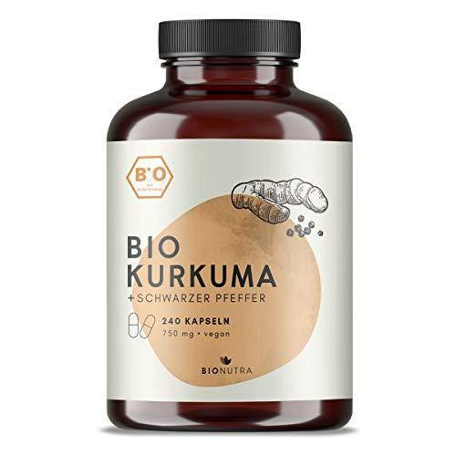 BIONUTRA Cápsulas de cúrcuma orgánica con pimienta negra (240 x 750 mg), producción alemana,...