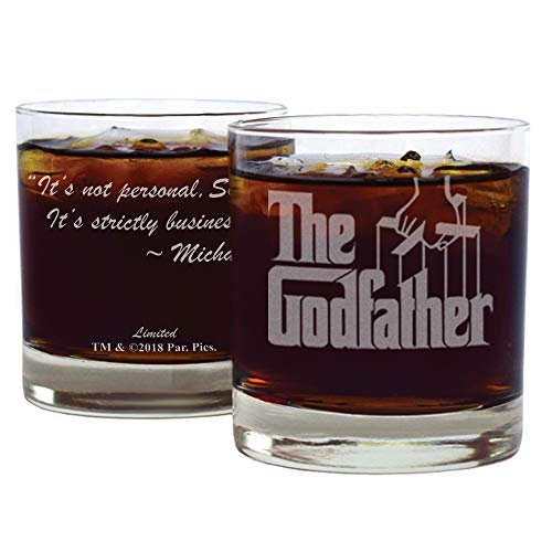 """The Godfather Movie Whiskey Glass with Quote,""""It's not personal Sonny. It's strictly business."""" ~ Michael Officially Licensed Collectible Premium Etched By Movies On Glass Includes One Glass - 11 Oz."""